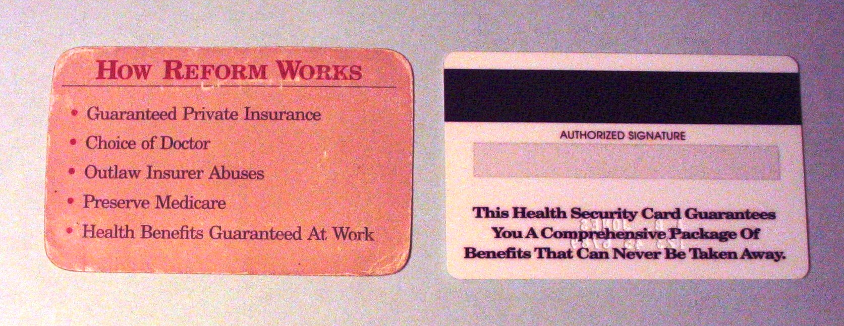 Health Security Cards - Back (1993)