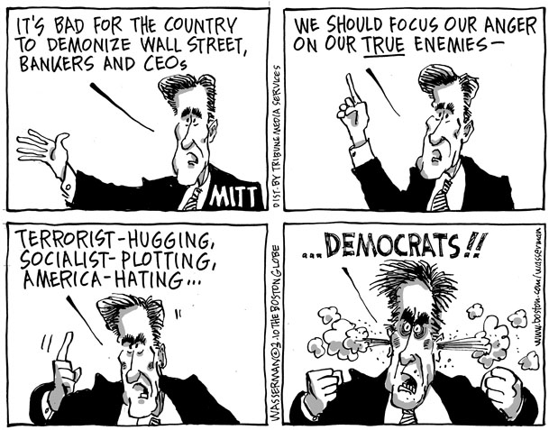 Dan Wasserman Political Cartoon - 03-02-2010 Romeny Anger